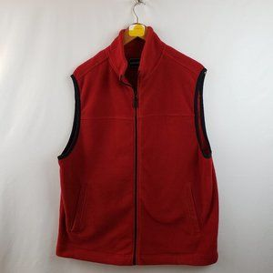 Saddlebred Fleece Vest Mens Sz Large Zip Front Red